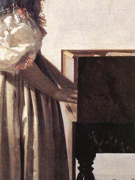 Vermeer Lady Standing at a Virginal detail2
